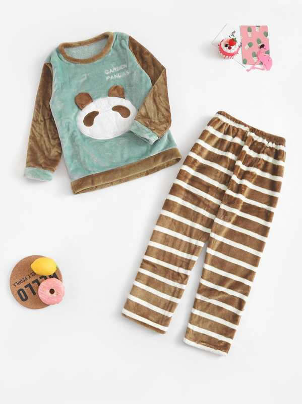 langlebig im einsatz Großhandelsverkauf bester Platz Weihnachten Kinder Panda Muster gestreift Plüsch Pyjama Set