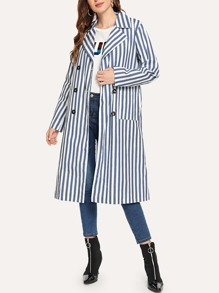 Double Breasted Striped Coat
