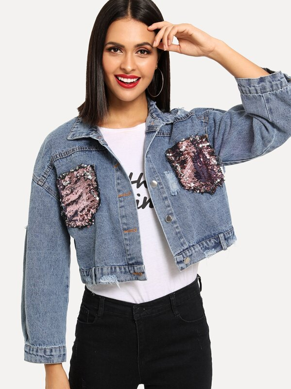 9fcb804b71b42 Sequin Pocket Ripped Drop Shoulder Denim Jacket