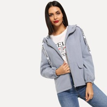 Letter Drawstring Hooded Zip-up Outerwear