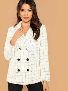 Double Breasted Frayed Tweed Blazer