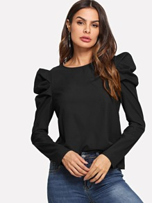 Puff Sleeve Button Keyhole Back Top