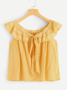 Tied Neck Eyelet Ruffle Blouse