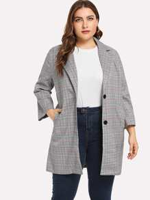 Plus Single Breasted Plaid Blazer