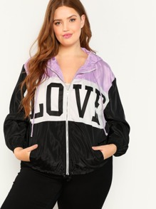 Plus Letter Print Color Block Hooded Windbreaker Jacket