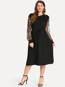 Plus Mesh Panel Embroidered Dress