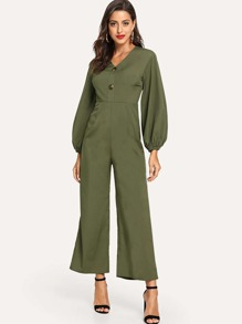 Button Detail Lantern Sleeve Wide Leg Jumpsuit