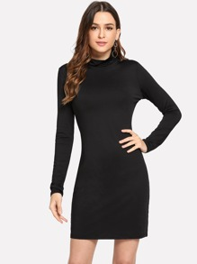 Mock Neck Slim Fitted Dress