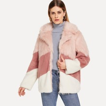Image of Faux Fur Color Block Coat