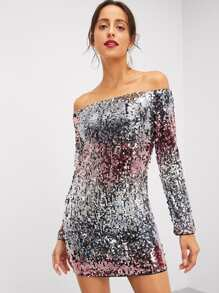 Off Shoulder Ombre Sequin Dress