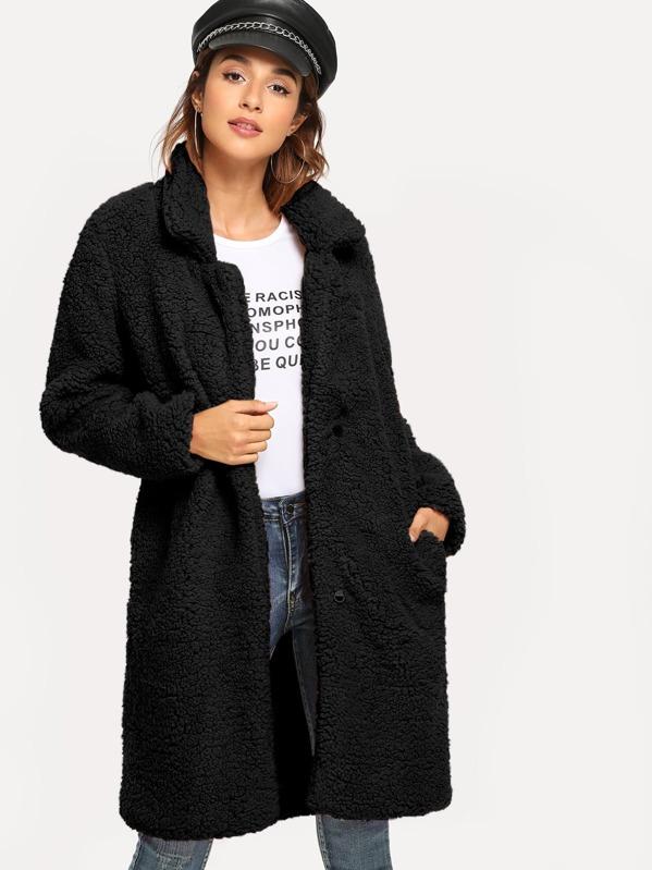 60af7a7fa595bd Schwarzer Mantel mit Taschen   SHEIN