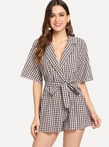 Self Belted Wide Leg Gingham Romper