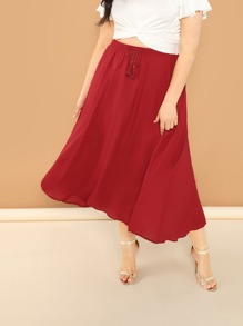 Plus Tasseled Drawstring Waist Skirt