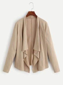Shawl Collar Open Front Coat