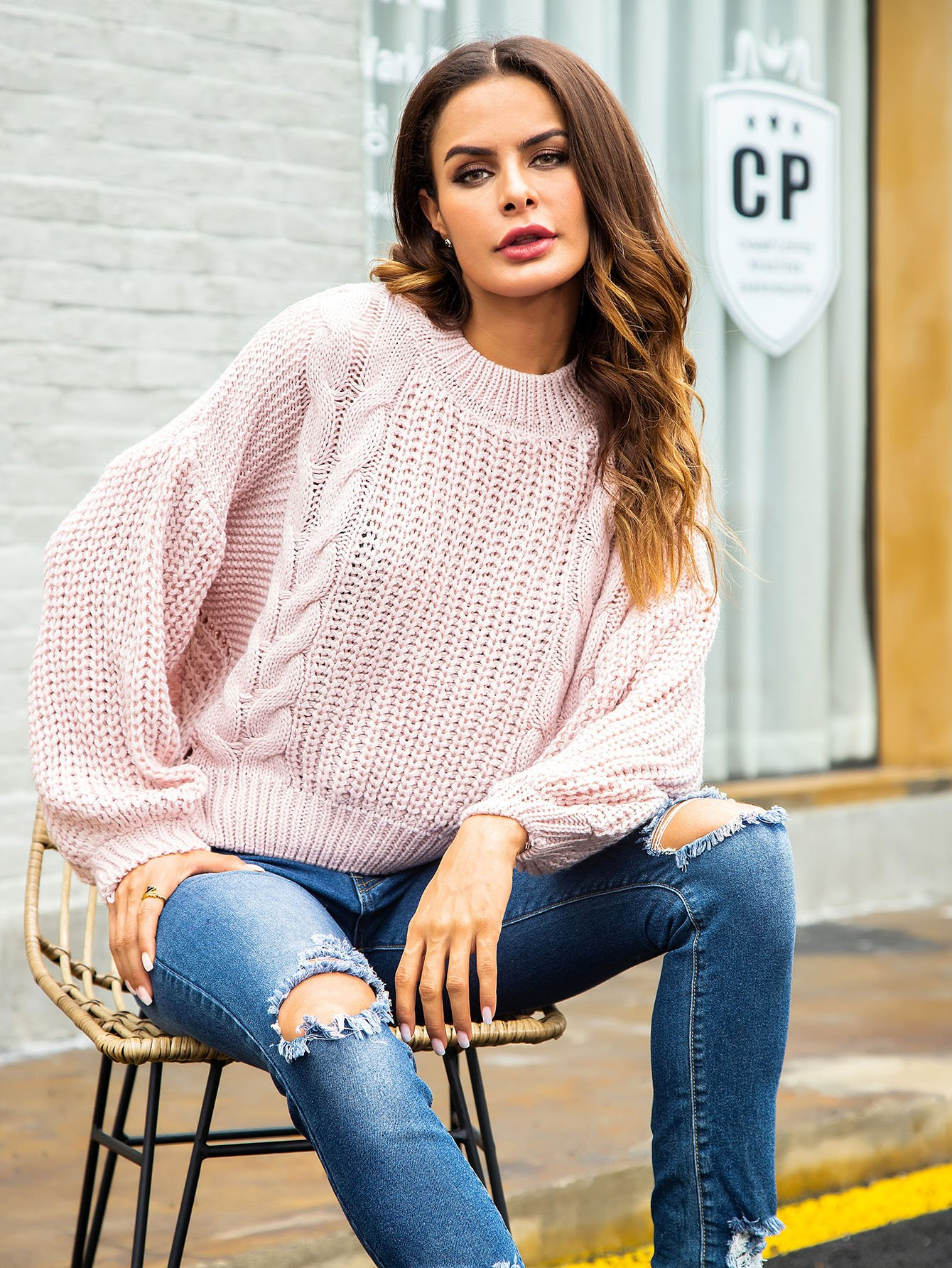 Cut Out Back Cable Knit Jumper by Romwe