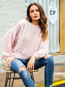 Cut Out Back Cable Knit Jumper