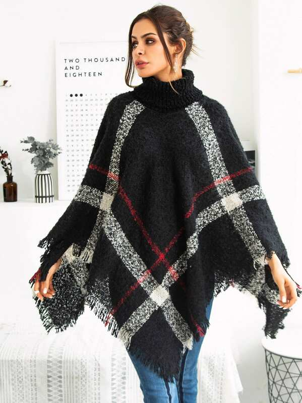 713401419e3 Plaid Fringe Hem Poncho Sweater