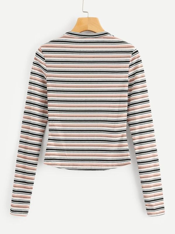 2a862b1198 Cheap Colorful Striped Ribbed Tee for sale Australia | SHEIN