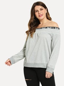 Plus Off Shoulder Letter Pullover