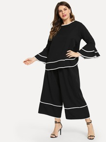 Plus Contrast Trim Top and Palazzo Pants Set