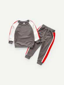 Toddler Boys Contrast Panel Sweatshirt With Pants
