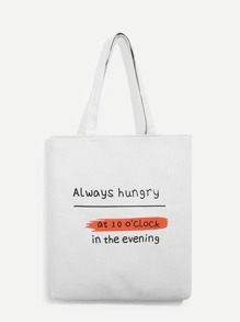 Slogan Print Canvas Tote Bag