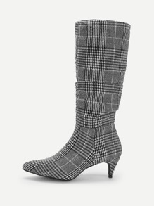 Houndstooth Detail Pointed Toe Boots