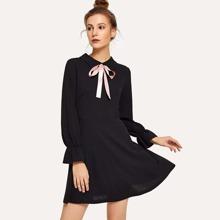 Tie Neck Bell Sleeve Dress