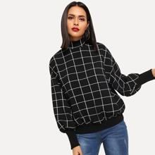 Mock-neck Grid Pullover