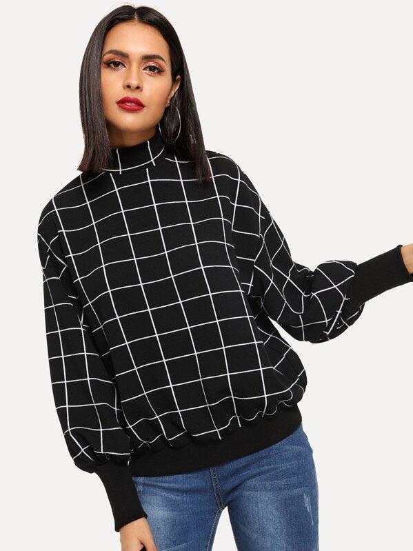 5808085851d6 Mock-Neck Grid Pullover   SHEIN