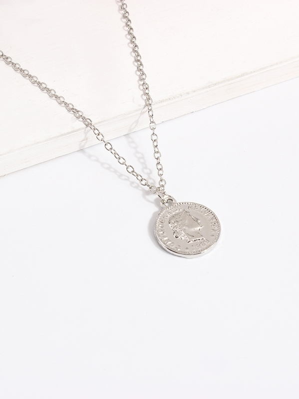 b03f666593 Figure Engraved Round Pendant Necklace   SHEIN
