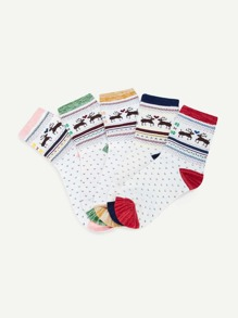 Christmas Deer Pattern Socks 5pairs
