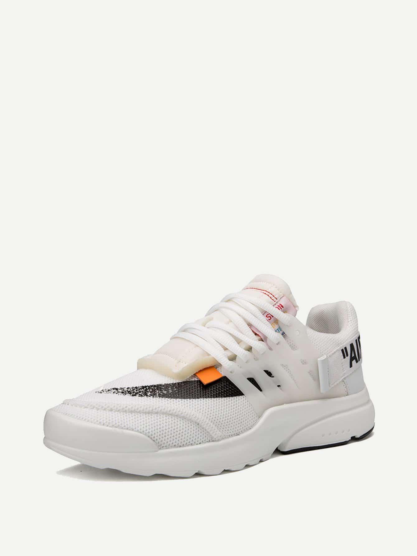 Men Slogan Detail Mesh Sneakers
