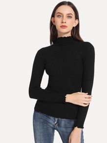 Stand Collar Frill Cuff Solid Sweater