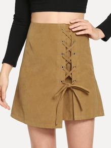 Lace-Up Solid Skirt