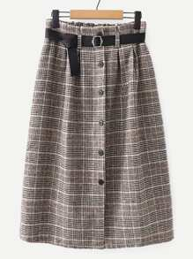 Belted Button Through Plaid Skirt