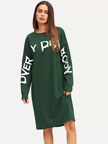 Letter Print Drop Shoulder Sweatshirt Dress