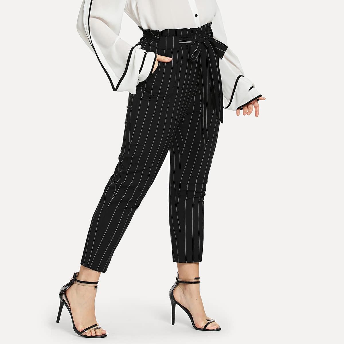 SHEIN coupon: Plus Striped Self Tie Waist Pants