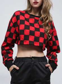Plaid Crop Sweatshirt