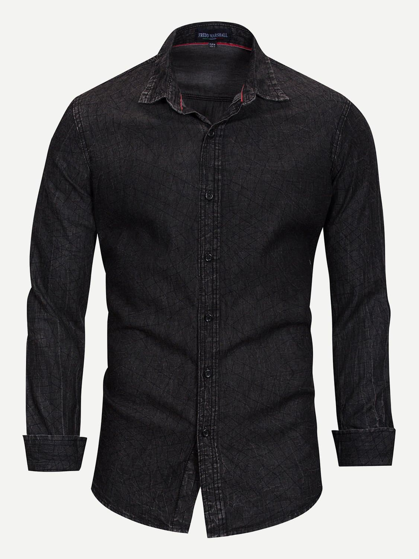 Men Plaid Print Solid Denim Shirt Men Plaid Print Solid Denim Shirt