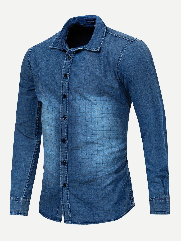 Men Plaid Print Wash Denim Shirt Men Plaid Print Wash Denim Shirt