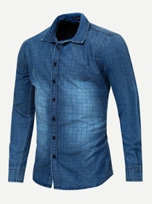 Men Plaid Print Wash Denim Shirt