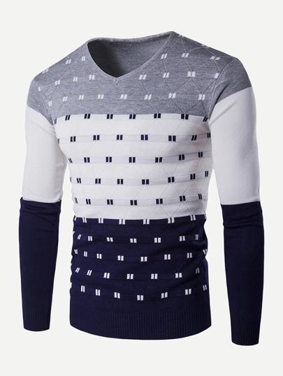 51b05ac61a Men Color Block Striped Sweater