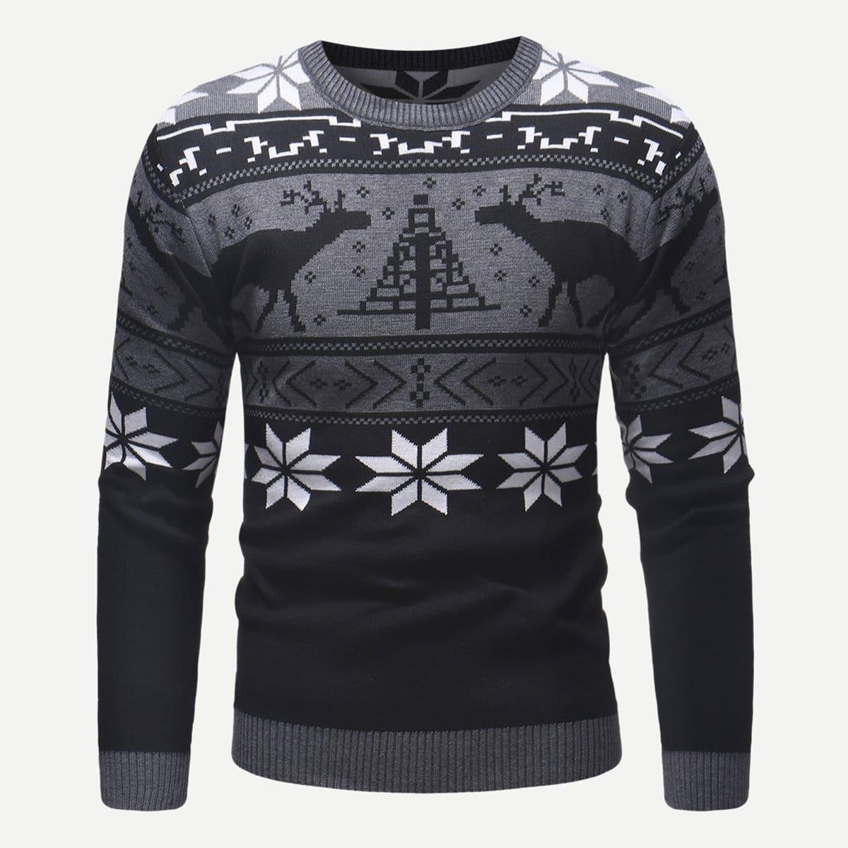 Мужский свитер с принтом рождественским