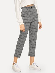 Plaid Button Decoration Pants