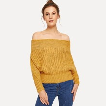 SHEIN | Solid Off The Shoulder Jumper | Goxip