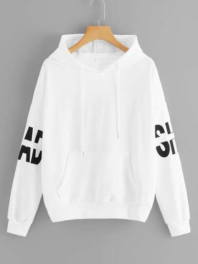 Letter Graphic Hooded Sweatshirt