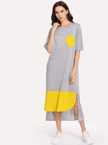 Pocket Patch High Low Tee Dress