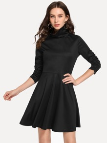 High Neck Solid Dress