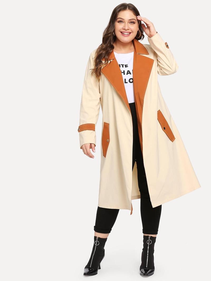 réel classé Super remise incroyable sélection Grande taille Manteau avec double poches et ceinture